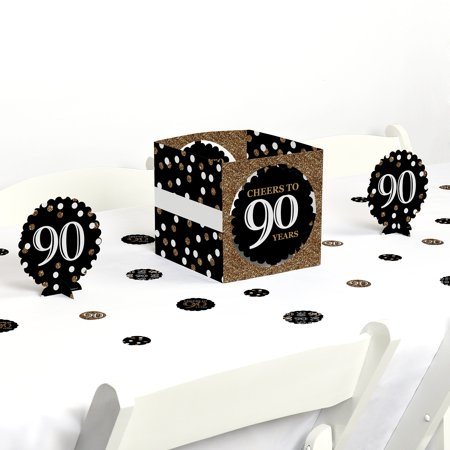 Adult 90th Birthday - Gold - Birthday Party Centerpiece & Table Decoration Kit - Birthday Centerpiece Ideas For Adults