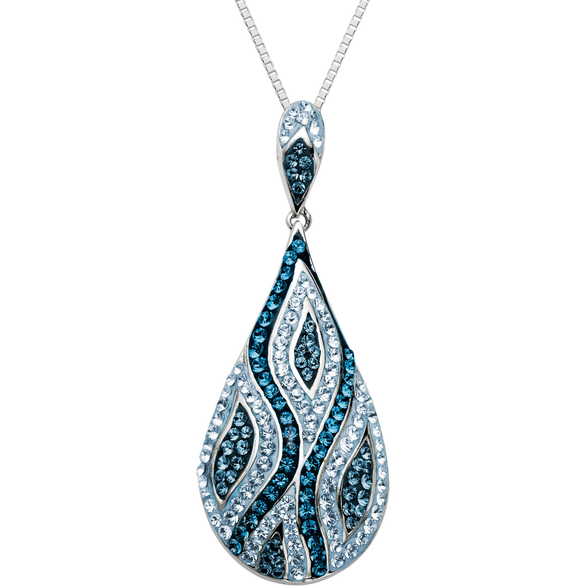 """Luminesse Sterling Silver Blue Pendant made with Swarovski Elements, 18"""""""