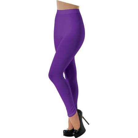Women's Purple 80s Rave Party Ballerina  Costume Leggings