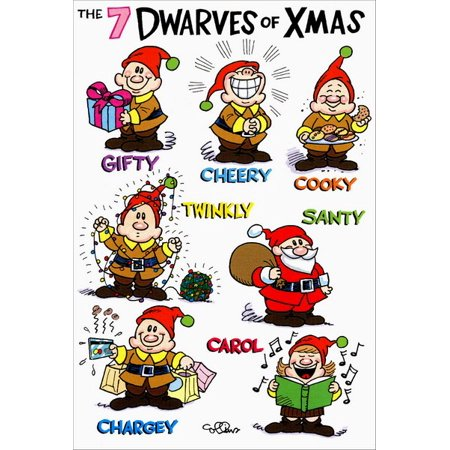 Humorous Christmas Cards.Nobleworks 7 Dwarves Of Christmas Box Of 12 Funny Humorous Christmas Cards