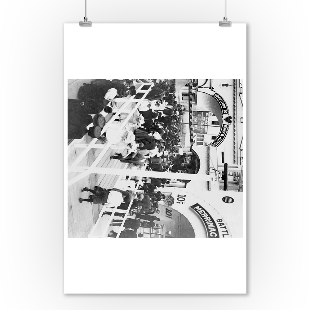 Crowd On Boardwalk Of Coney Island Photograph 24x36 Giclee Gallery Print Wall Decor Travel Poster