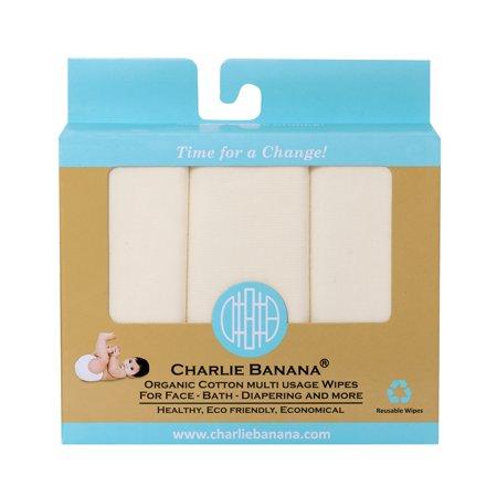 Charlie Banana Cloth Baby Wipes, Reusable, 10 Ct