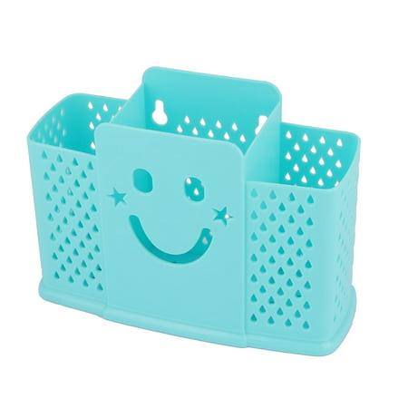 - Kitchen Hollow Out Plastic Spatula Spoon Hanging Chopsticks Holder Basket Blue