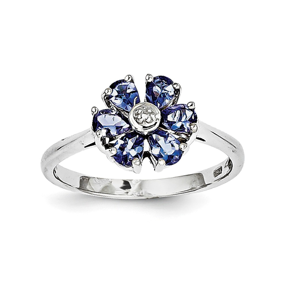 925 Sterling Silver (0.005cttw) Tanzanite and Diamond Ring by
