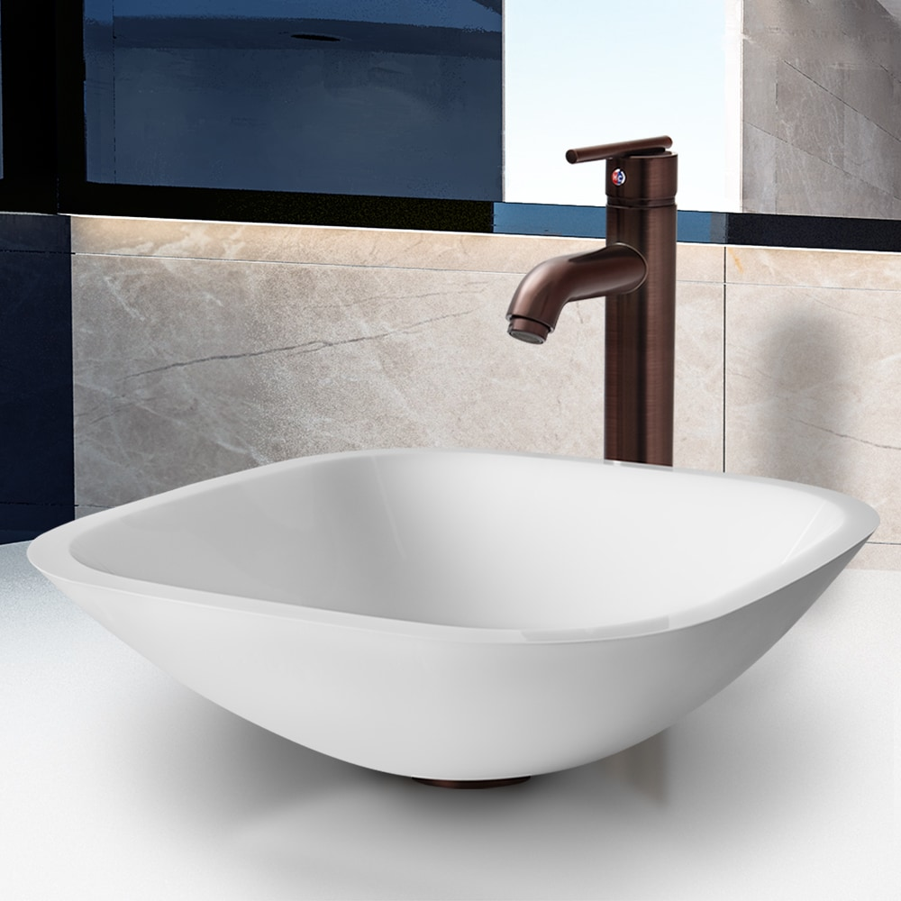 """Vigo VGT206 16"""" Square Shaped Phoenix Stone Glass Vessel Sink with Faucet and Po"""