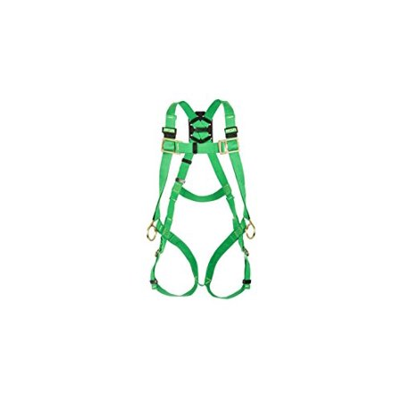Chest D-rings - MSA 10020062 Thermatek Welder's Harness, Back and Hip D-Rings, Qwik-Fit Leg and Chest Straps, Green Kevlar Nomex Webbing, Standard