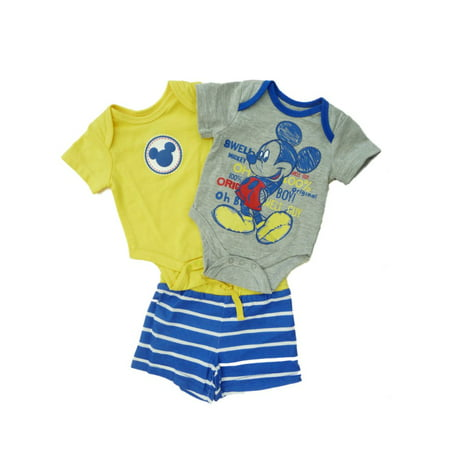 Disney Infant Boys Mickey Mouse Outfit Bodysuits   Striped Shorts Set