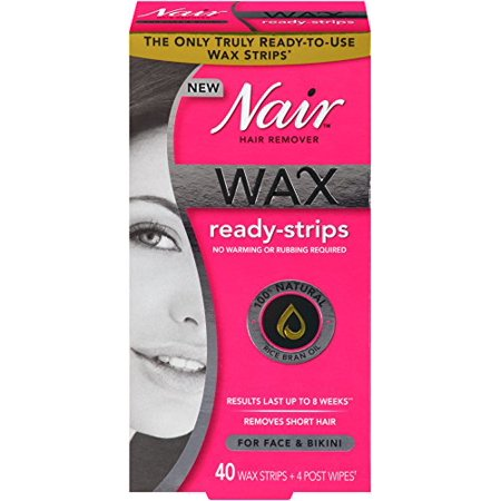 Nair Wax Ready-Strips for Face and Bikini, 40 (Best Wax For Face Hair Removal)