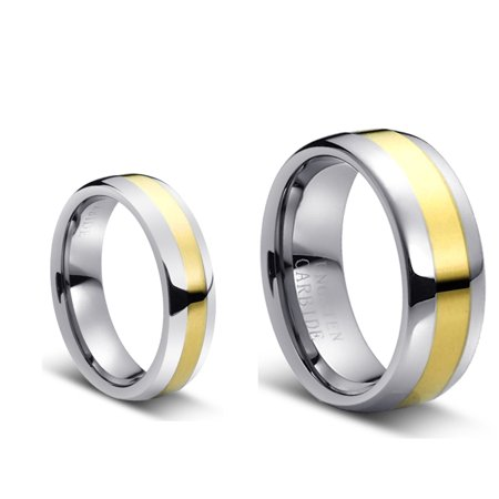 His & Her's 8MM/6MM Two Tone Gold Center and Domed Shape Tungsten Carbide Wedding Band Ring Set