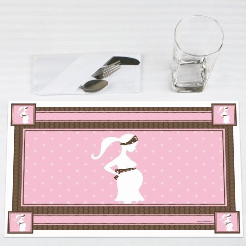 Mommy-To-Be Silhouette It's A Girl Baby Shower Placemats Set of 12 by Big Dot of Happiness, LLC