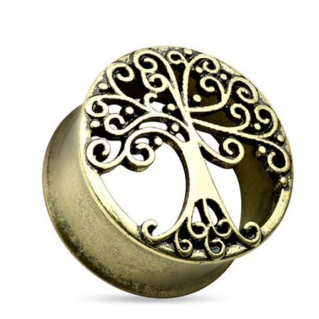 Goldstone Plugs - Tree of Life Gold Tone Surgical Steel Double Flare Tunnel Plug - 0G-1