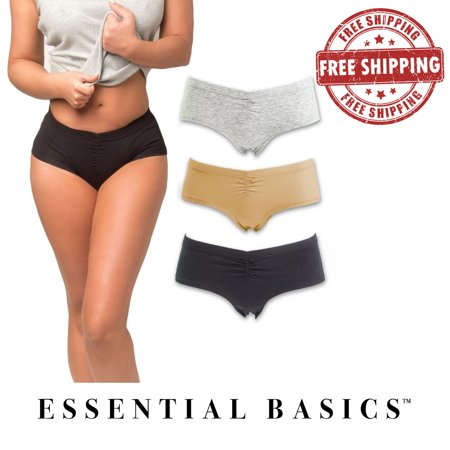 Women's Cotton Hipster Underwear Panties (3-Pack) | Cotton Spandex with Elastic Waistband (Cotton Spandex Hipster)