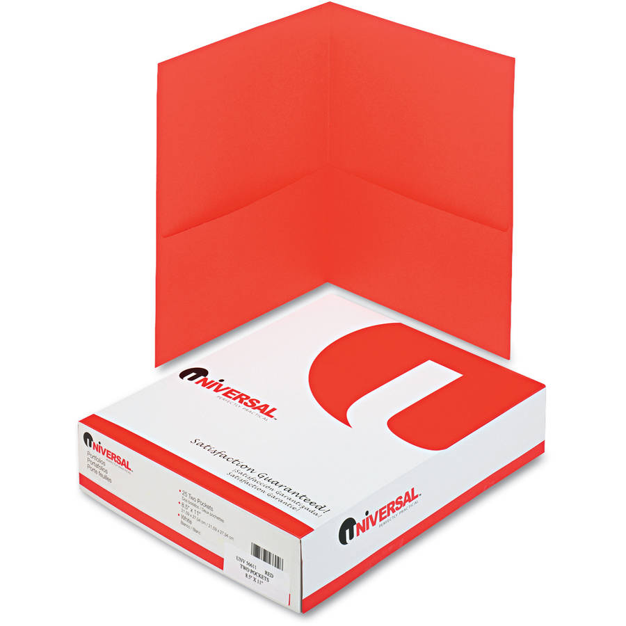 Universal 2-Pocket Portfolio, Embossed Leather Grain Paper, Red, 25/Box