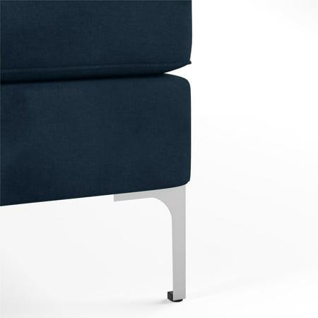 Novogratz Chapman Sectional Sofa with Chrome Legs, Blue, (Blue)