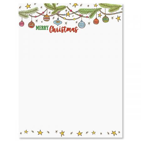 Paper Ornaments - Ornament Christmas Letter Papers - Set of 25 Christmas stationery papers are 8 1/2