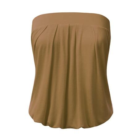d261b9250a Doublju - Doublju Women s Basic Strapless Cami Tube Top MOCHA S -  Walmart.com
