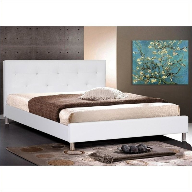 Atlin Designs Full Faux Leather Tufted Panel Bed in White