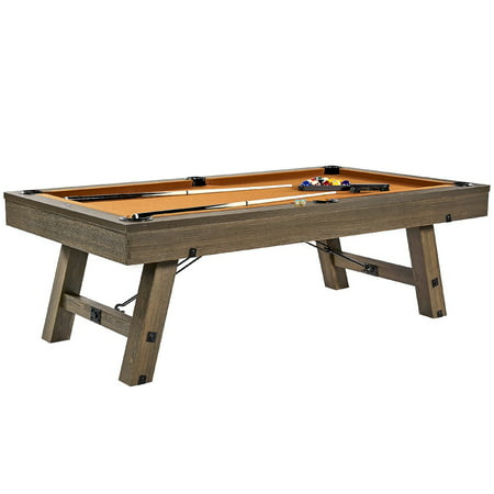 Barrington 8 Ft. Sutter Premium Billiard Table with Cue Set and Accessory Kit, Pool Table, 96 inch, Oak Grey (Logo Billiard Pool)