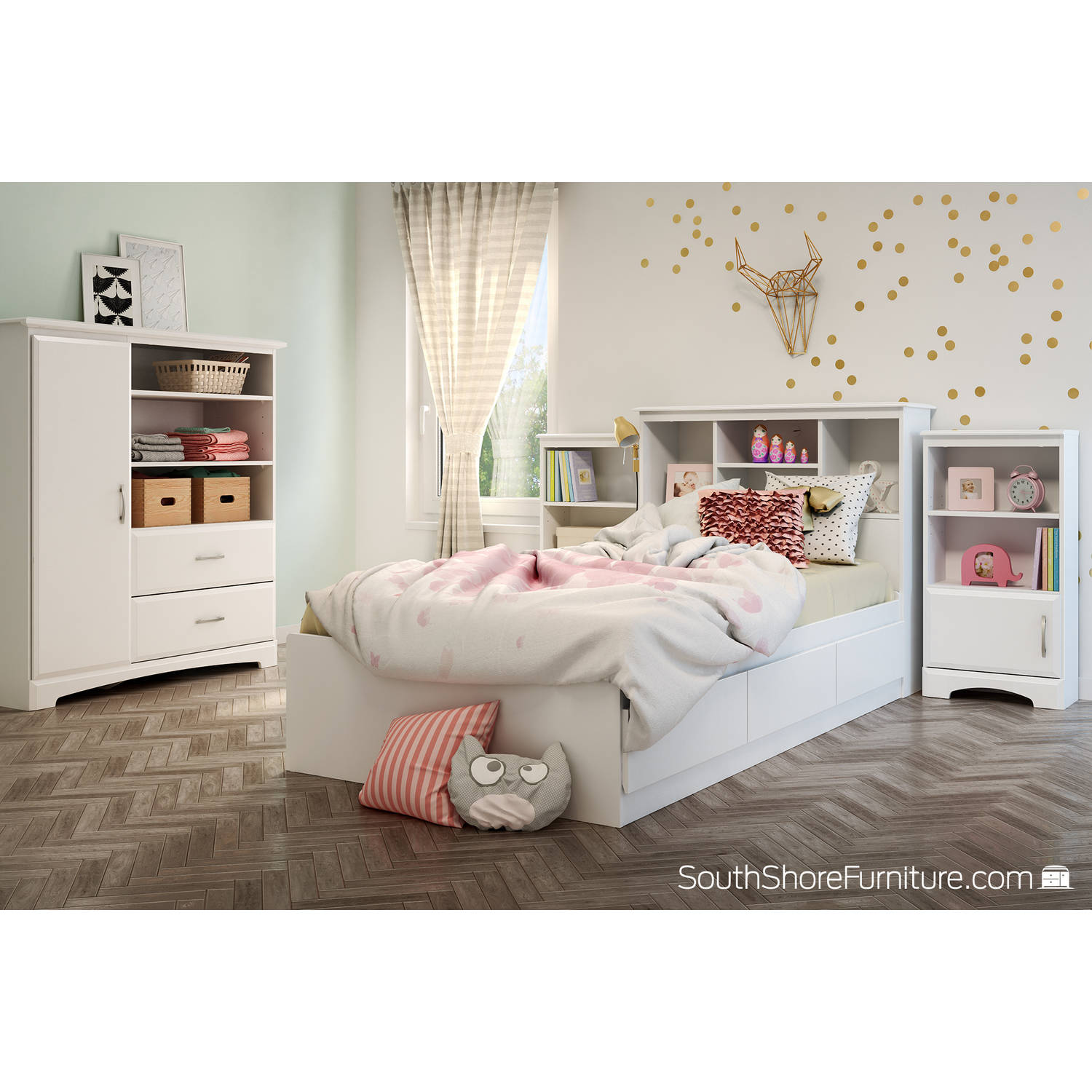 South Shore Callesto Twin Mates Bed in Pure White by South Shore