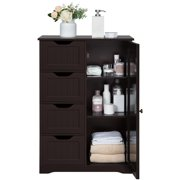 Yaheetech Free-Standing Cabinet Wooden Bathroom Cabinet Storage Cabinets with Four Drawers and Cupboard for Bathroom/Kitchen
