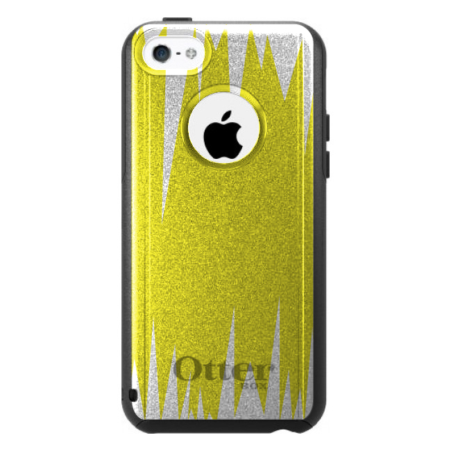 DistinctInk™ Custom Black OtterBox Commuter Series Case for Apple iPhone 5C - Yellow White Spikes