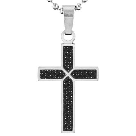 Stainless Steel Black Carbon Fiber Cross Necklace