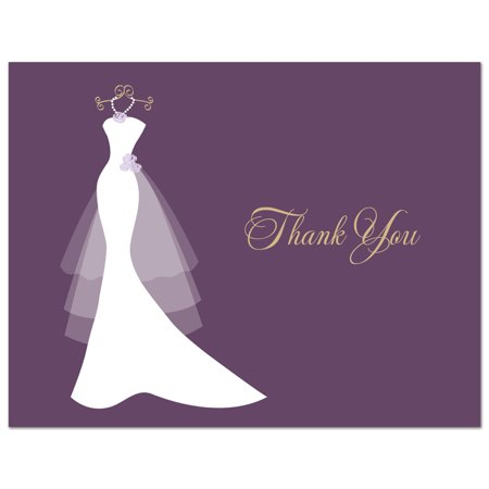 Purple Wedding Gown - Bridal Shower Folded Thank You Cards and Envelopes - 50 count