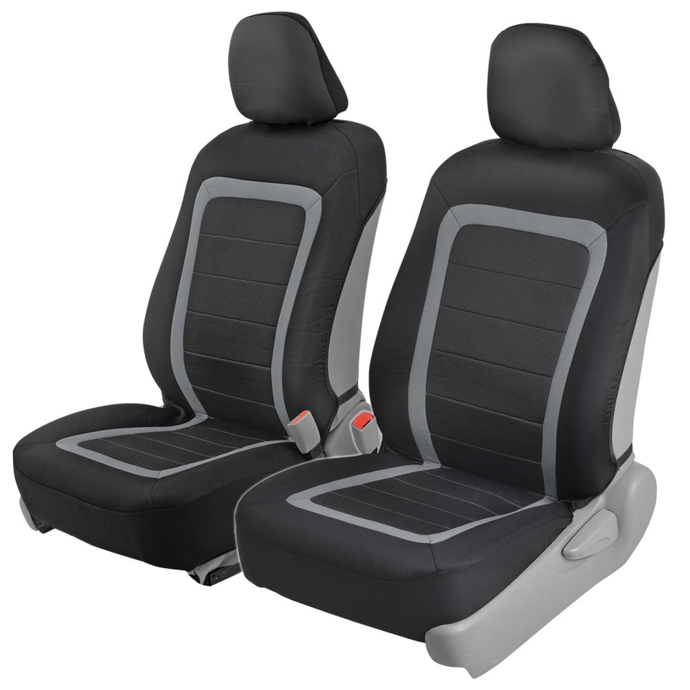 Motor Trend Car Seat Covers - Instant Install Sideless Front Seat Protector Pair - Modern Honeycomb Accent Black & Gray