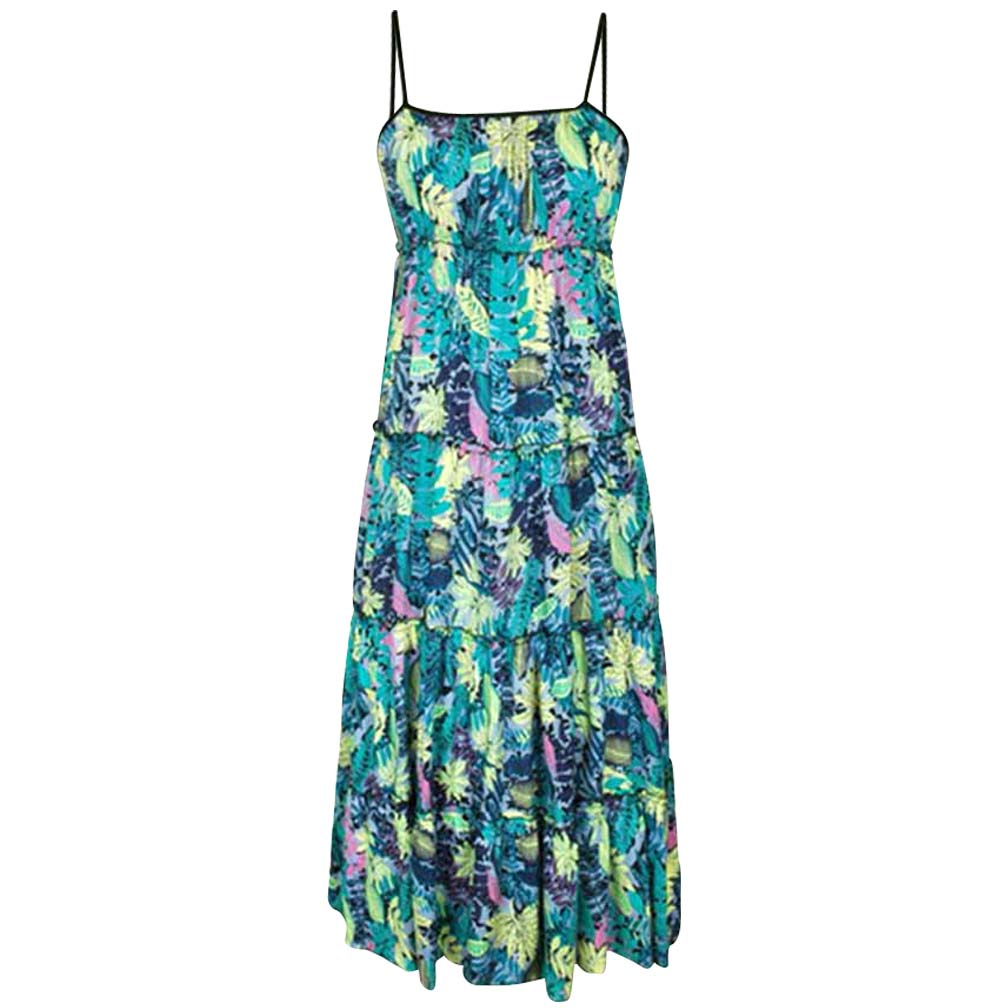 Luxury Divas Multicolor Boho Print Empire Waist Maxi Dress