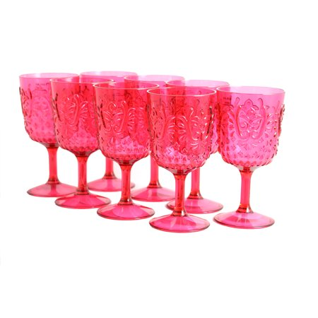 Ruby Red Water Goblet (Studio California Elmira 8 Piece 16 oz. Embossed Clear Red Goblet)