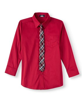 Arrow Aroflex Stretch Poplin Fashion Dress Shirt and Tie, 2 Piece Set (Little Boys & Big Boys)