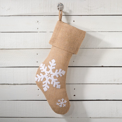 Saro Lumi Snowflake Design Christmas Stocking