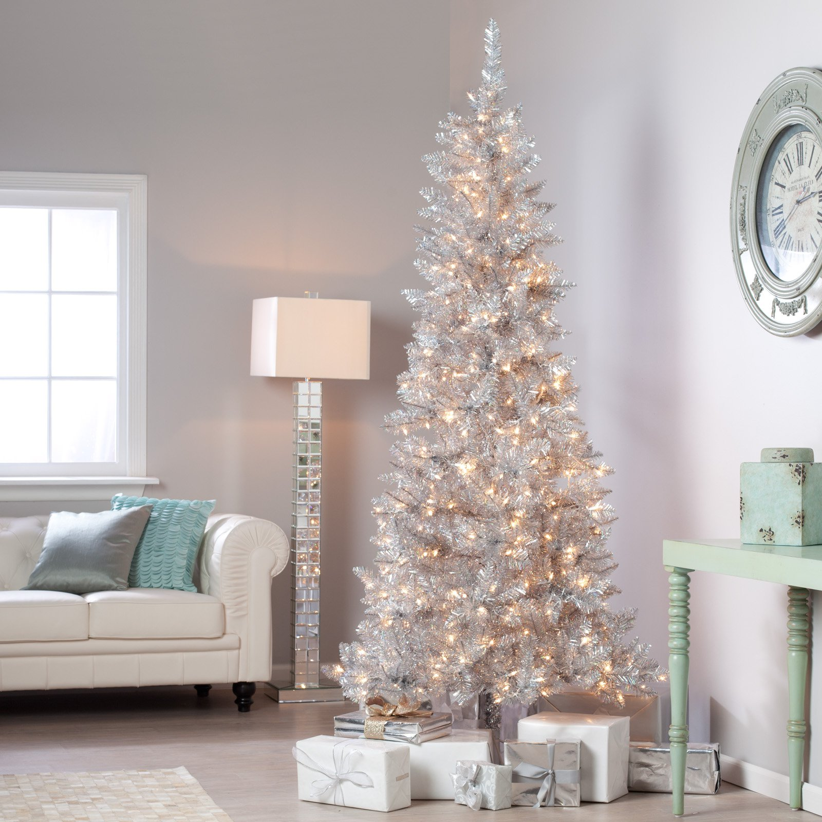 silver tiffany tinsel pre lit christmas tree by sterling tree company walmartcom - Silver Tinsel Christmas Tree