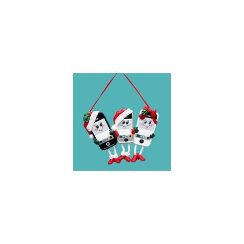 Pack of 12 Cell Phone Family of Three Christmas Ornaments for Personalization