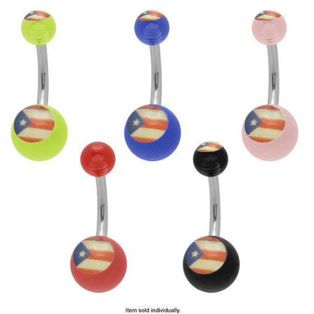 Flag Belly Ring - Acrylic Puerto Rico Flag Belly Button Ring