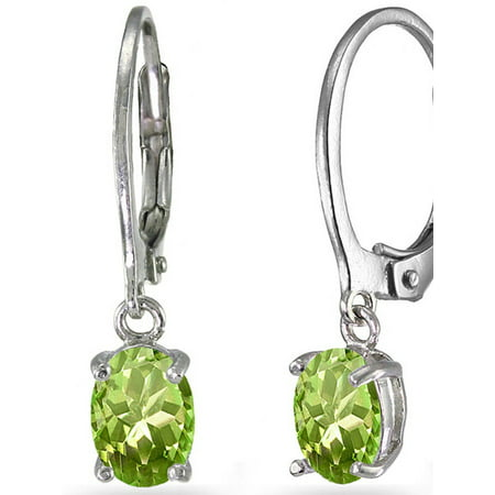 Peridot Sterling Silver 7mm x 5mm Oval Dangle Leverback (5mm Leverback Earrings)