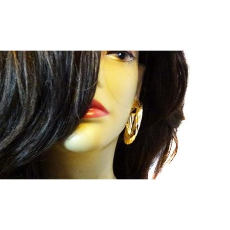 Gold Plated Twisted Hoop Earrings 2 inch Hoop Earrings
