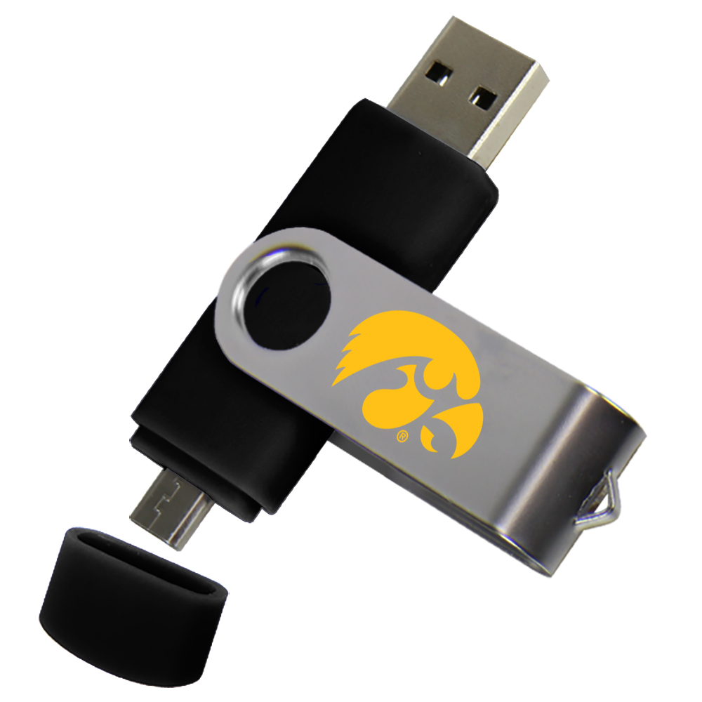 Iowa Hawkeyes Dual Pro Micro to USB Drive 16GB Black