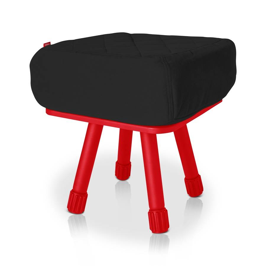 Krukski Stool in Black with Red Tablitski Cushion