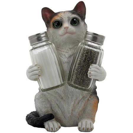 Playful Calico Kitty Cat Gl Salt And Pepper Shaker Set With Decorative Holder Sculpture In Kitten