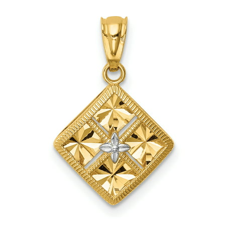 14K Yellow Gold & White Rhodium Plated Diamond-Cut Square Charm and Pendant
