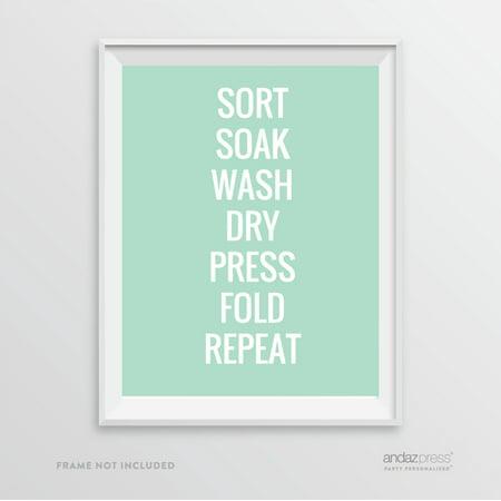 Light Mint Green (Sort Soak Wash Dry Press Fold Repeat, Mint Green Laundry Room Wall Art Decor Graphic)