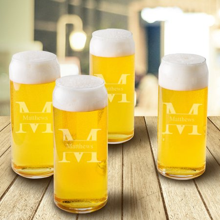Personalized Tall Boy Beer Glassses - Set of (Personalized Glassware)