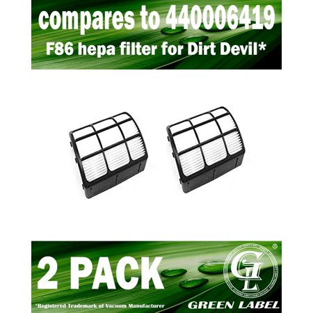 2 Pack For Dirt Devil UD70167 F86 HEPA Filter Vacuum Cleaners (compares to 440006419). Genuine Green Label product