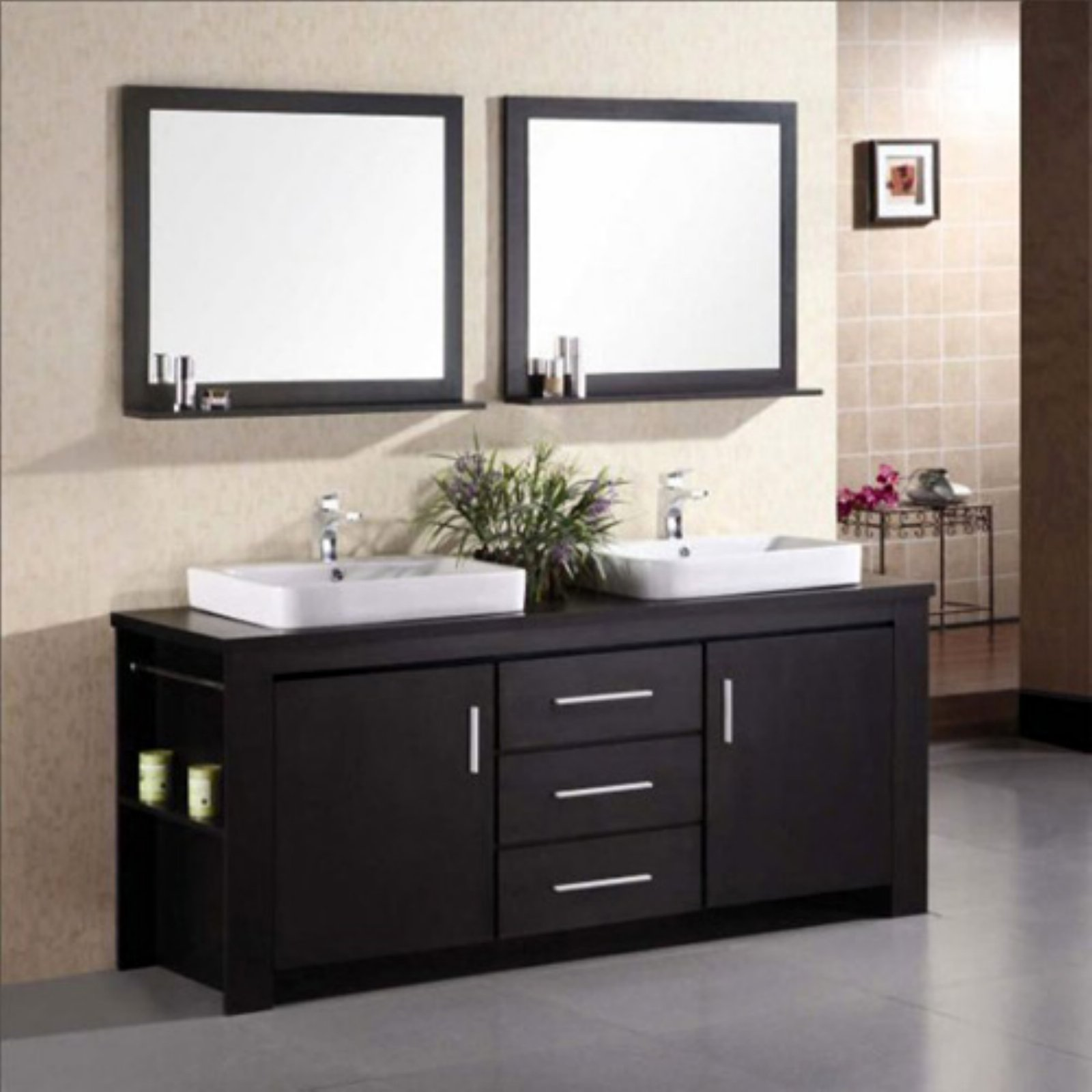 Design Element DEC083D Washington 71 In. Double Bathroom Vanity Set