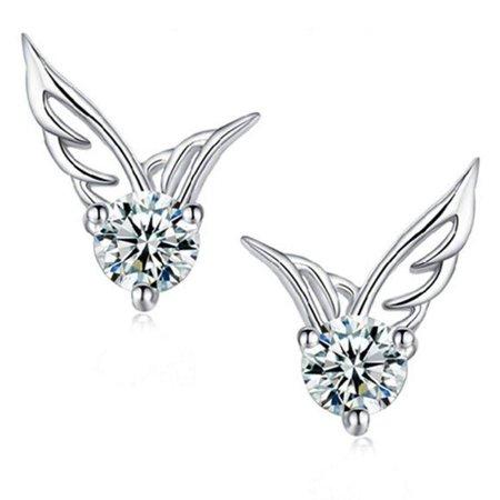 CLEARANCE - Tiny Wings Austrian Crystal Stud Earrings White Gold 24k Gold Austrian Crystal