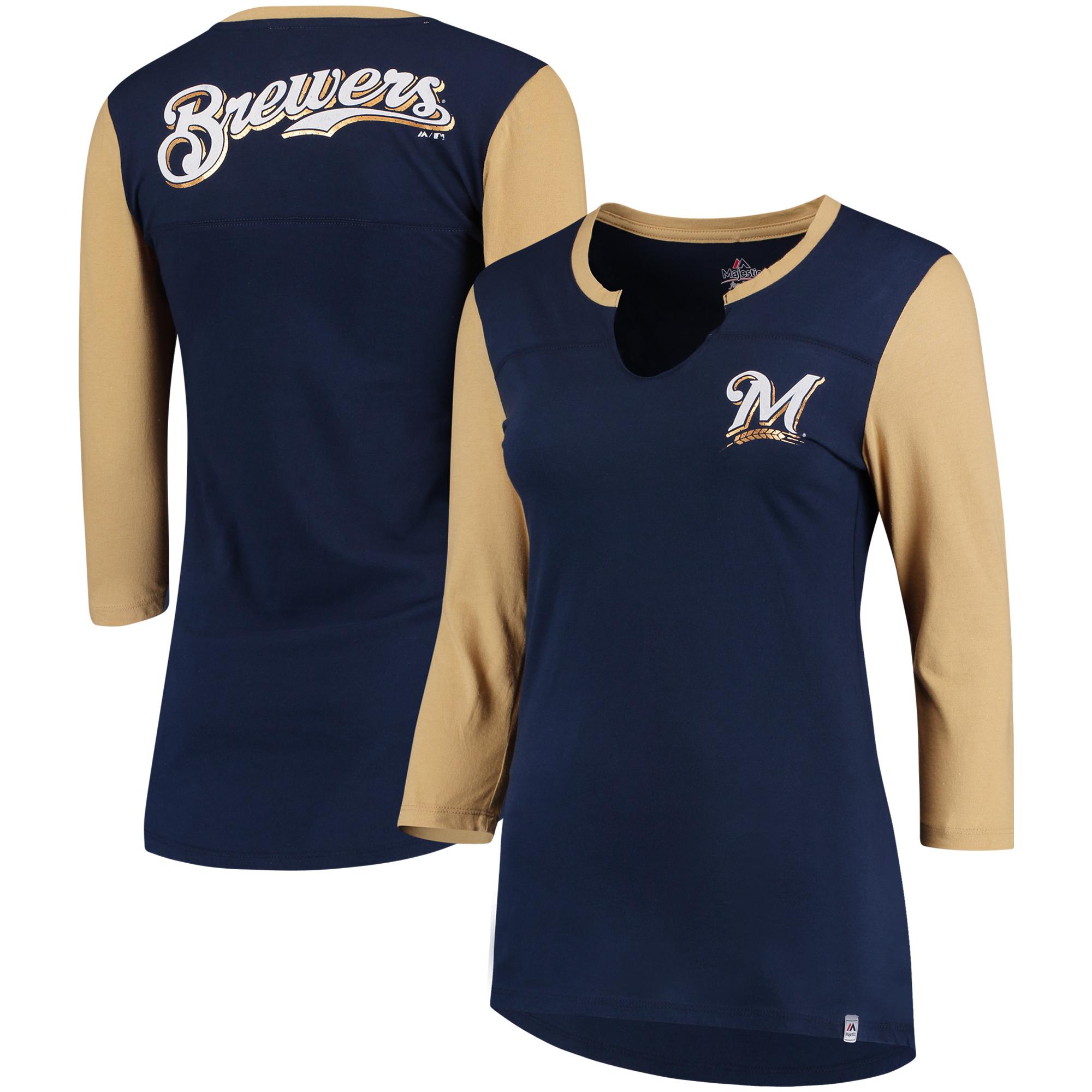 Milwaukee Brewers Majestic Women's Above Average Three-Quarter Sleeve V-Notch T-Shirt - Navy/Gold