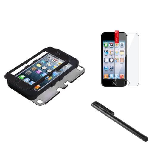 Insten Black/Black TUFF Hybrid Phone Hard Case For Apple iPod Touch 6th 6G 6 5th 5G 5+Shield+Pen