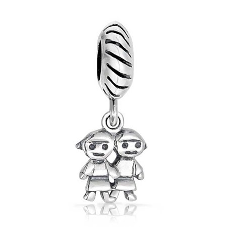 Sisters Family Friends Forever Bff Dangle Charm Bead For Women Oxidized 925 Sterling Silver Fits European