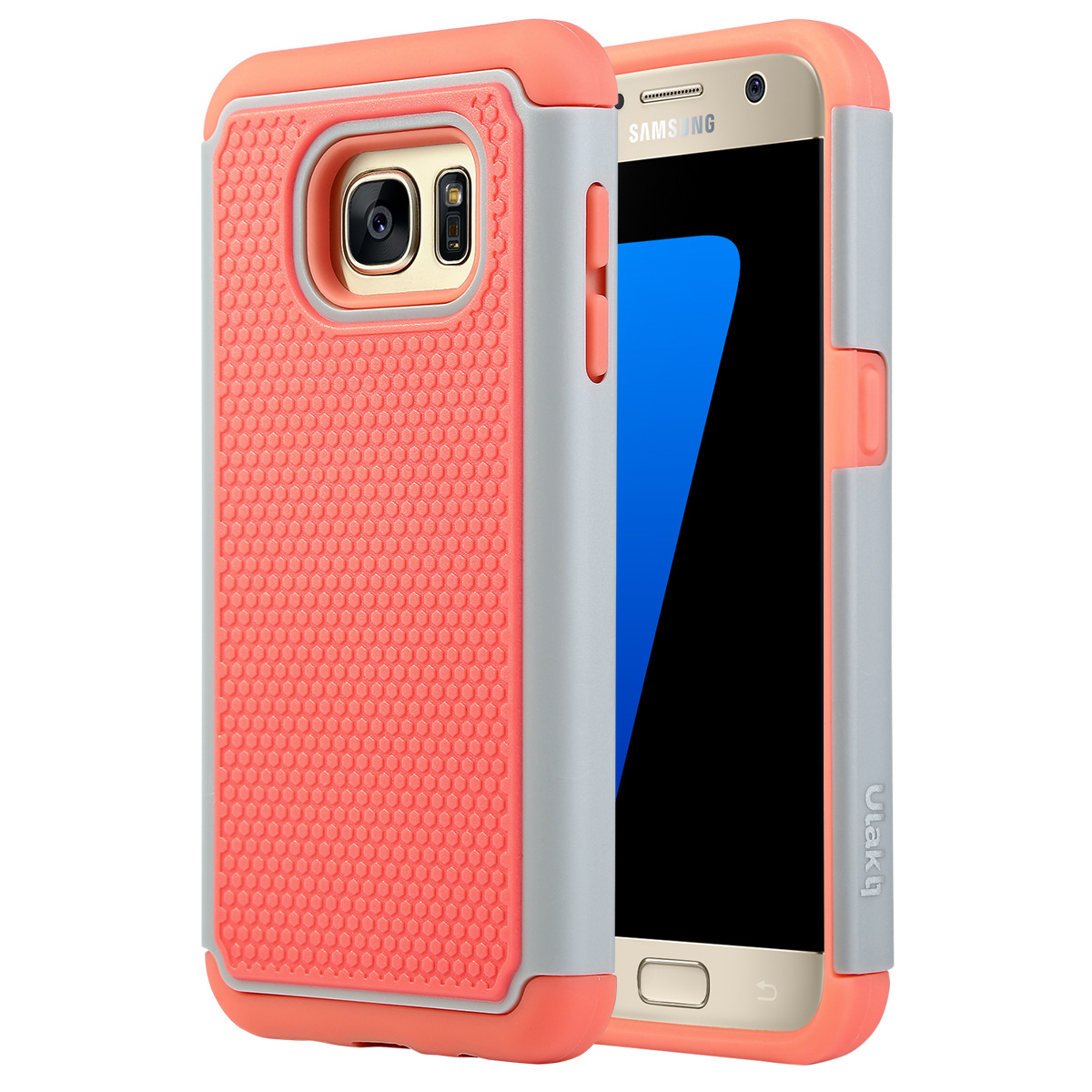 Galaxy S7 Case, ULAK Hybrid Slim Dual Layer Protective Case Cover with Soft Silicone and Hard PC ...